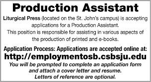 Cover Letter Production Assistant Production Assistant College Of Saint Benedict Collegeville Mn