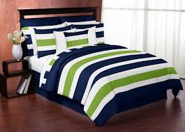 navy blue and lime green stripe 3pc bed