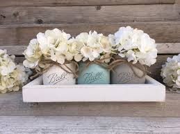 rustic tray with 3 painted mason jars