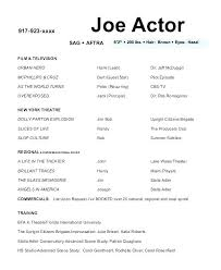 Sample Acting Resume Sample Actor Resume Template Noxdefense Com