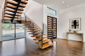 Modern Staircase with French Doors, Floating Staircase, Hardwood Floors