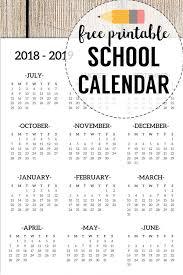 Free Printable School Calendar 2018 2019 School Calendar Printable Free Template Organization
