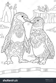 Coloring Page Of Emperor Penguins Couple