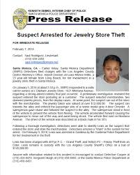 suspect arrested for jewelry theft santa monica police department nextdoor