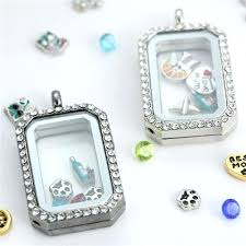 glass locket fashion rectangle glass locket pendants necklaces memory living lockets magnetic floating charm locket with