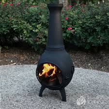 chiminea clay outdoor fireplace black