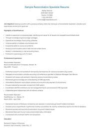 Reconciliation Analyst Sample Resume Reconciliation Analyst Sample