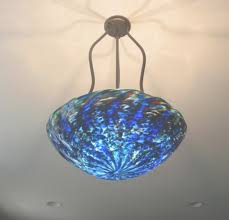 blown glass bowl tripod chandelier artisan crafted lighting for blue glass chandelier view 5
