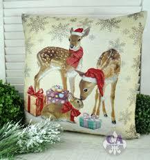 Kissen 45x45cm Weihnachten Gobelin Rehe Landhaus