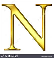 letters and numbers 3d golden greek letter ny isolated in white