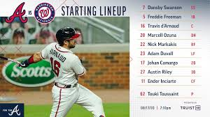 Braves vs Nationals Lineup 8/17 : Braves