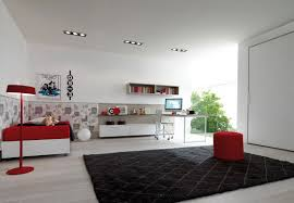 simple interior design bedroom. Luxurious Red And White Simple Interior Design With Bedding Black Area Rug Floating Bedroom