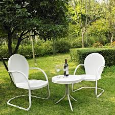 white metal outdoor furniture. Wonderful Outdoor Crosley Griffith 3 Piece Metal Outdoor Conversation Seating Set  Two Chairs  With Side Table In White For Furniture E