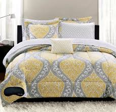 modern trendy bedding sets with decorative yellow and gray