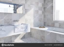 Luxus Badezimmer Ecke Mit Einem Weißen Marmorboden Gefliesten Wänden