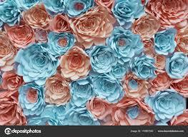Paper Flower Background Blue And Orange Paper Flowers Background Pattern Backdrop Wedding