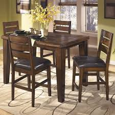 Ashley Larchmont 5 Piece Wood Counter Height Dining Set in Brown