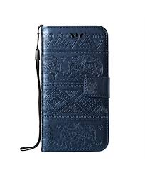 iphone elephant embossed leather wallet folio case blue