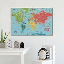 pixel world map rainbow colours wall