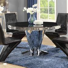coaster barzini round dining table stainless steel
