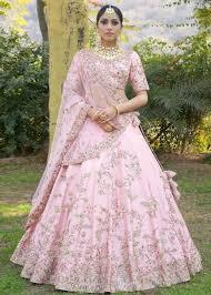 Light Pink Indian Wedding Dress Stunning Light Pink Color Malai Satin Lehenga Bridal
