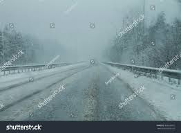 Snowy Fog Danger Road Winter View Stock Photo 388320832 Shutterstock