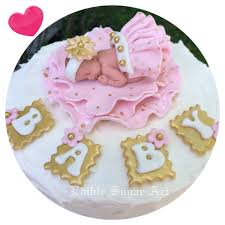 Pink And Gold Polka Dot Retro Baby Shower Cake Topper Fondant Baby