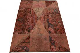 patchwork rug red rose in 240x160cm