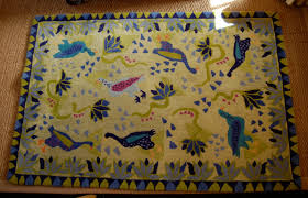 beautiful susan sargent 100 wool area rug 4 x 6 handmade in indian very plush playful bird design in stunning blues and greens