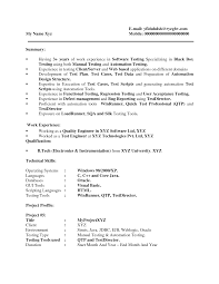 Sample Resume Of Manual Tester Year Experience Resume Format For Manual Testing New Software 2