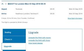Ba Avios Upgrade Chart How To Upgrade Your British Airways Flights With Avios One