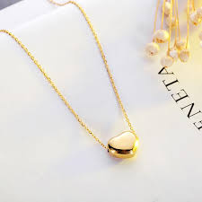 stainless steel 14k gold plated puffed heart pendant necklace