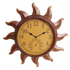 garden treasures indoor outdoor rustic sun thermometer with clock