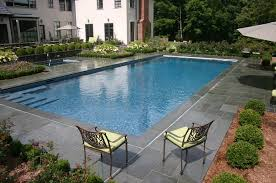 patio with square pool. Ref ID 2 - Rectangle Swimming Pool With Sun Shelf, Square Spa And Blue Stone Patio In Greenwich, CT T