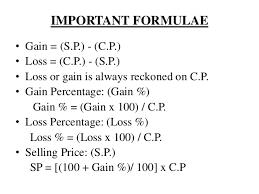 Profit Loss Formula Unit 3 Ratio Proportion Profit And Loss