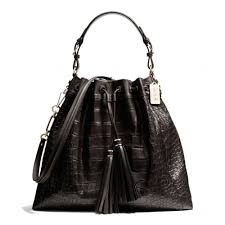 The Madison Large Drawstring Shoulder Bag In Croc Embossed Leather from  Coach