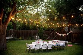 exterior: Appealing Outdoor Lights Enlightening Summer Backyard Ideas Which  Is Equipped With White Themed Wedding