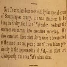 nat turner slave revolt prisoners of eternity nat turner newspaper x