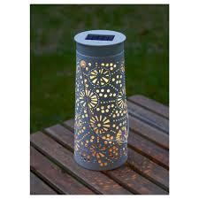solvinden led solar powered table lamp cone shaped white 30 cm ikea
