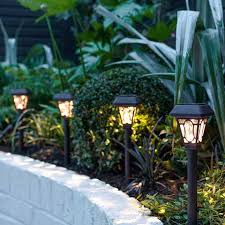 outdoor solar powered lights stake garden argos