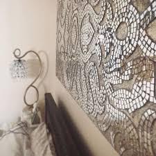 champagne mirrored mosaic damask panel