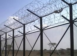 High security fencing razor barbed wire on welded panels or chain