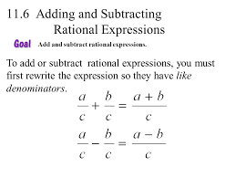 adding subtracting rational expressions like 11 6 adding and subtracting rational expressions ppt video
