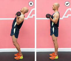 side by side parison of a person lifting too much weight so leaning back