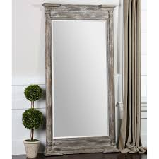 Delighful White Leaning Floor Mirror Uttermost Valcellina Leaner Plus Potted Plants And On Innovation Design