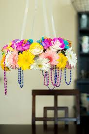 diy flower chandelier completed