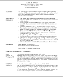 Resume Template, Marketing Objectives Resume Example With Education And  Professional Experience Highlights As Sales Or