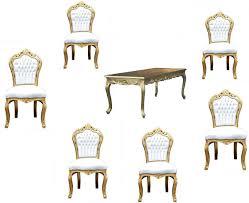 Casa Padrino Barock Esszimmer Set Goldweiss Esstisch 6