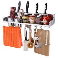 larsd 304 stainless steel kitchen hanging racks kitchen racks wall mounted knife holder 60cm storage rack cf07 60