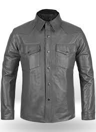 gray leather shirt jacket 1s loading zoom